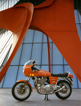 1982 Laverda Jota with Calder's sculpture