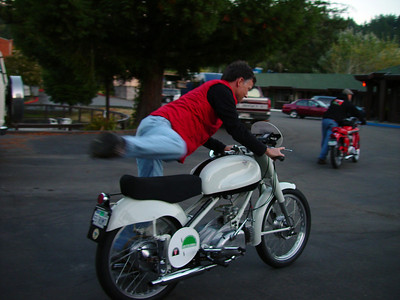 Carl and his Rumi 125 twin, 2006