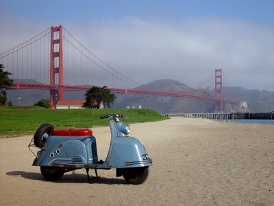 '54 Goggo scooter and the Golden Gate bridge