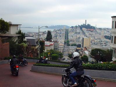 Vintage bikes on Lombard St, San Francisco