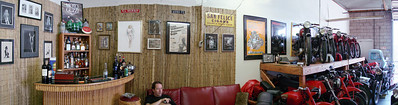 Superwide shot of Moto Guzzino's lounge