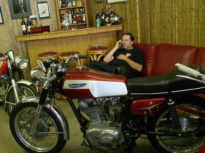 Paul in the Moto Guzzino lounge