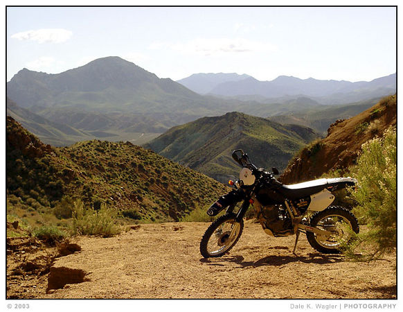 XR400 looking over Jawbone Canyon, Southern California.