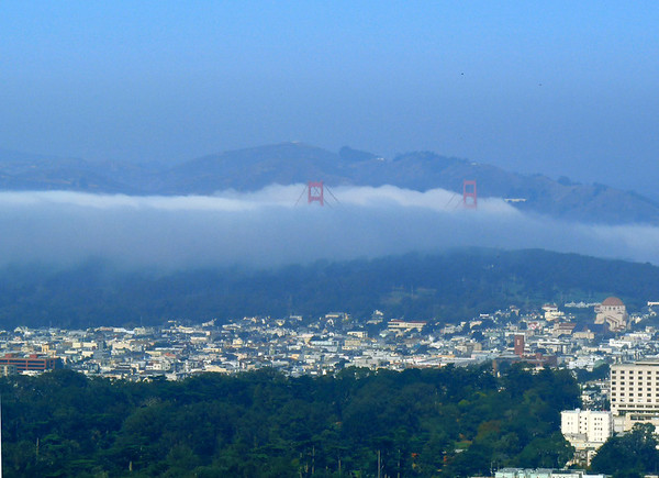 The Golden Gate bridge lost in the fog