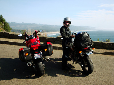 My daughter next to her Ducati Monster and my Ducati ST3. These are powerful bikes, capable of 3-digit speedometer readings, but we are conservative and careful. No motorcycles or riders were harmed on this trip.