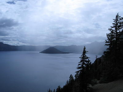 Crater Lake: We managed to ride south of the storm