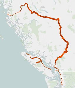 Stat Pack I: Here's our route. The width of the line is proportional to elevation between zero at sea level and 4,200 feet and the color is related to speed where lighter is slower and darker is faster (up to a max of about 105 - strictly in short mountain passing lanes, ahem). Note the gaps in the route correspond to ferry crossings.