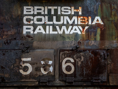 Prince George: There's a neat BC Rail museum where we spent some time walking around and through some old trains. Very cool.  This is a detail of the rusted side of one of the locomotives.