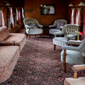 Prince George: There's a neat BC Rail museum where we spent some time walking around and through some old trains. And if that weren't enough, here's the restored interior of a club cal. Now THAT's traveling in style.