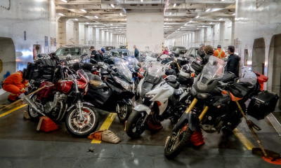At Prince Rupert, we boarded a 18 hour ferry that would take us to Vancouver Island. Here are all the bikes (ours and many more) all blocked and lashed down for the trip.