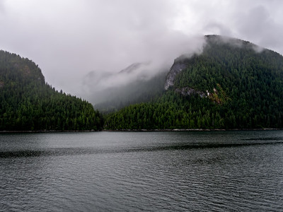 As we departed Prince Rupert, we had low cloud, some fog and rain. Very pretty is a soft majestic way.