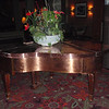 Solid copper grand piano in the resort lobby