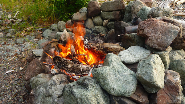 Some previous visitor left us a nice fire pit protected from the evening breezes