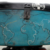 My battered topbox with the routes I've covered around the world.