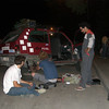 Mongol Rally - the Spanish and Italians confer about mechanical problems