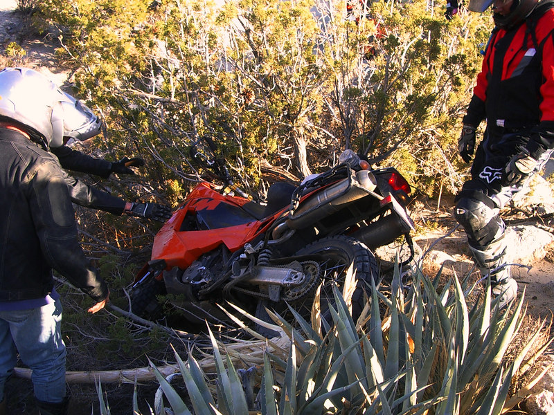 One of our group, Dave, in his excitement, gave too much throttle over the top of the ridge, and this was the result.
