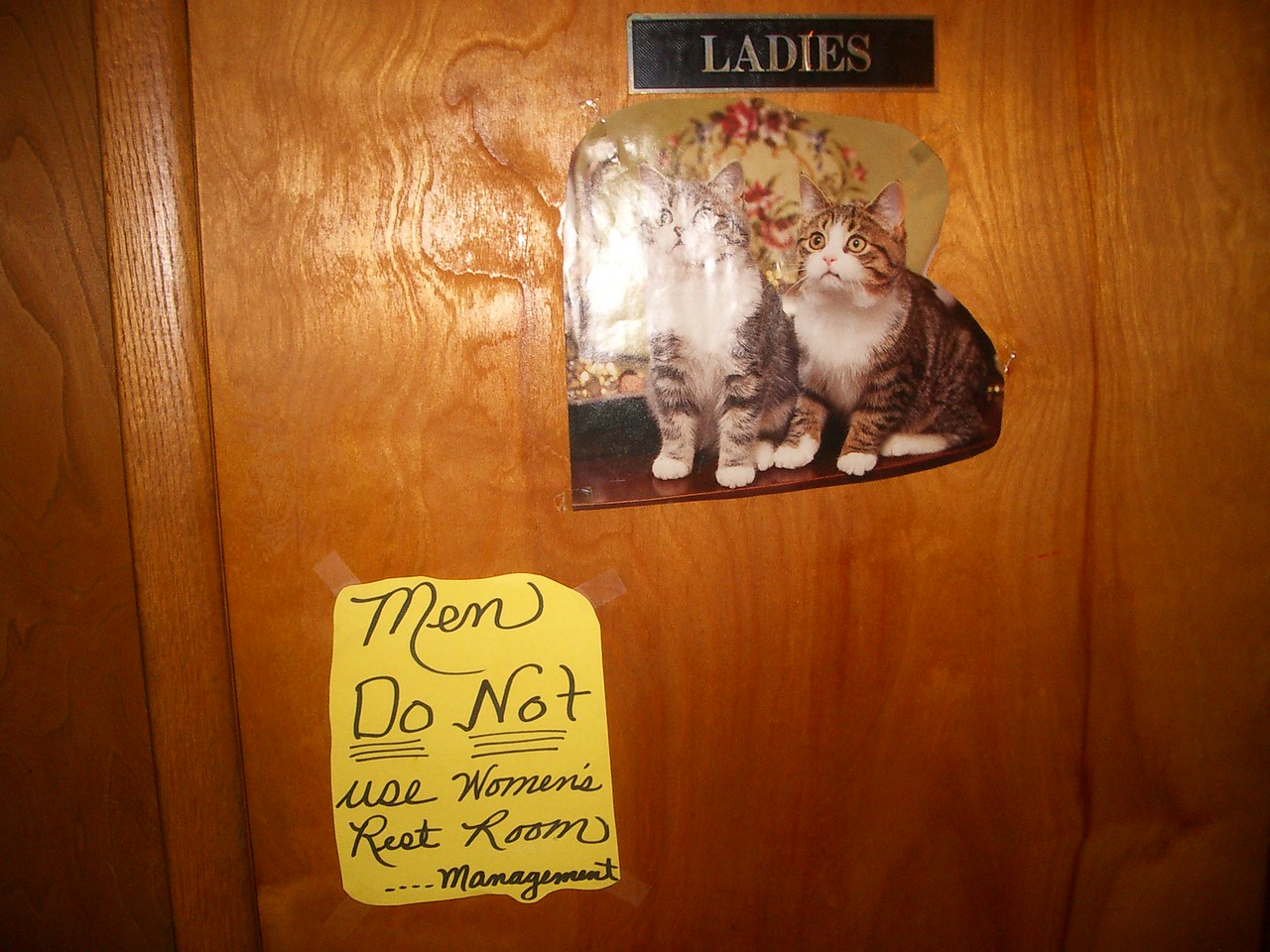 Evidently, there is a frequent problem with men using the women's washroom in this West Virginia town.