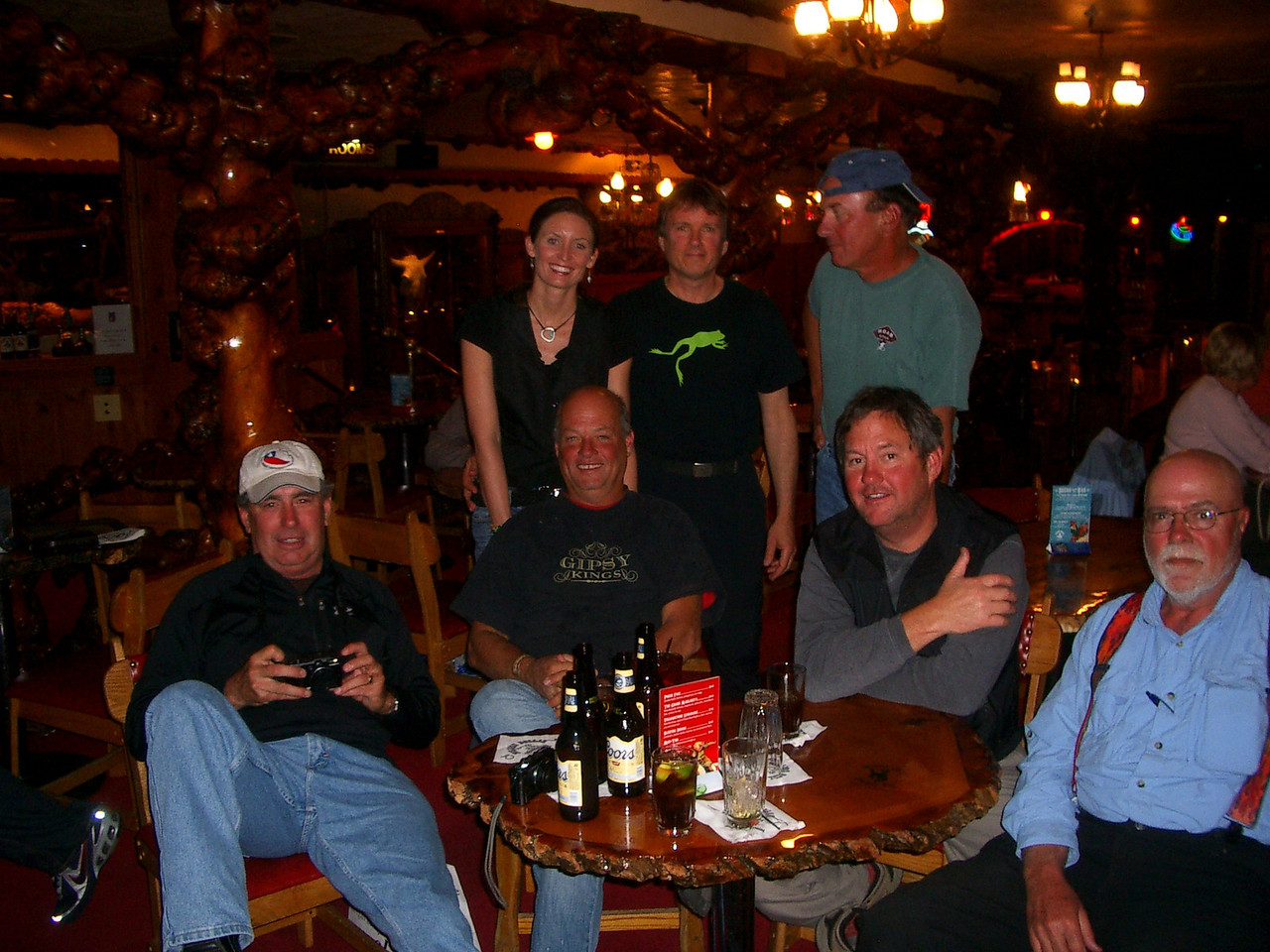 Met the Texas posse again in Jackson Hole and spent the night drinking and telling jokes. Also met Scott from Long Island, although he wasn't on his GS this trip.<br /> <br /> Great guys! From the left: Donovan, brothers Kyle and Keller, and James, back row: server Jennifer (I think), me and Scott from Long Island NY.<br /> <br /> They seemed to have a real fascination with hearing newfie jokes so I told a few.