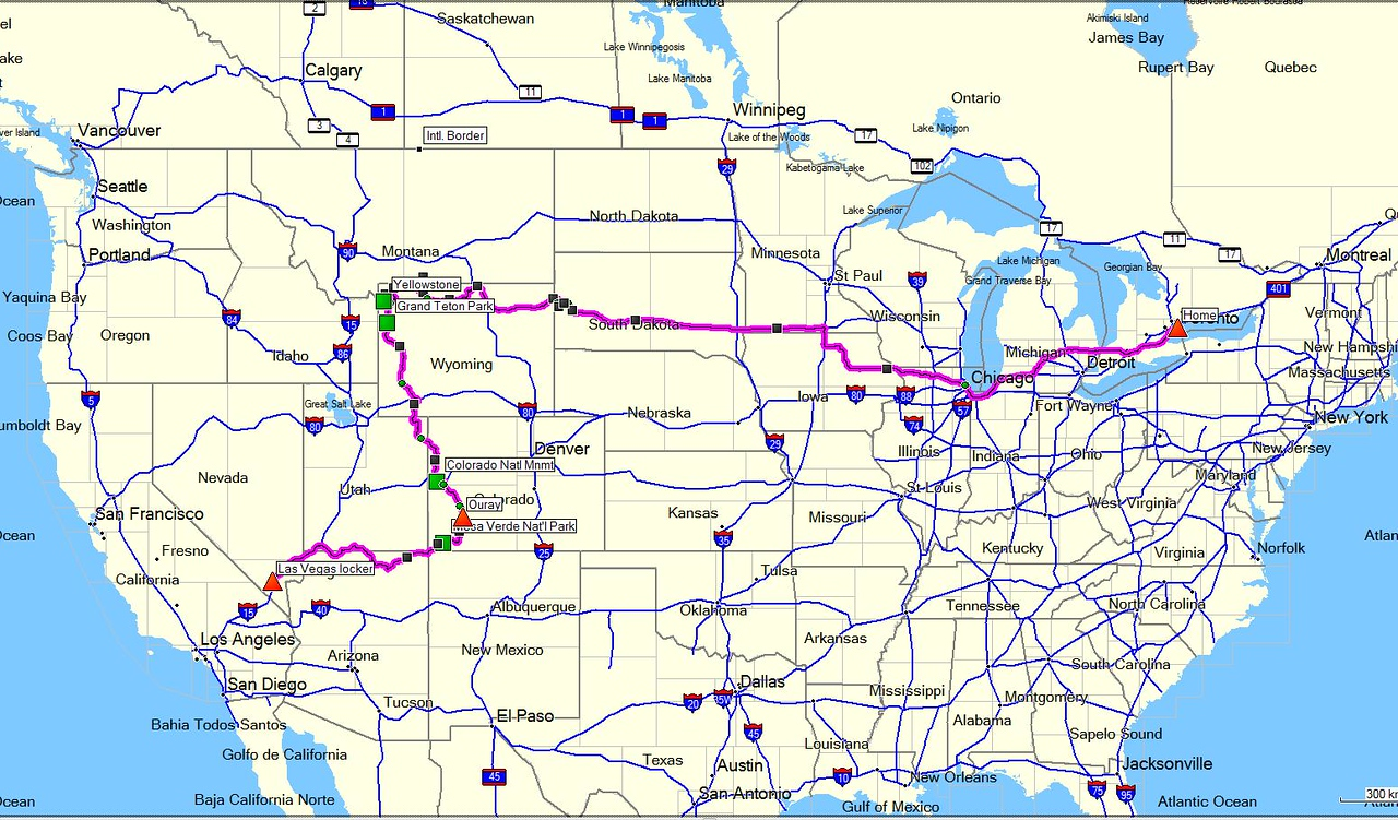 Las Vegas to Toronto in May/June 2009. <br /> <br /> I wanted to see some states I'd never been to before, such as Wyoming, Montana, South Dakota, Iowa, and Minnesota, so my route was by no means direct.<br /> <br /> I covered just under 6,000 kms in 8 days, and had rain for the last 4 days straight. My ride was great, except that the high mileage days were also the rainiest, so very long days indeed. I was traveling solo, but never lacked for company.