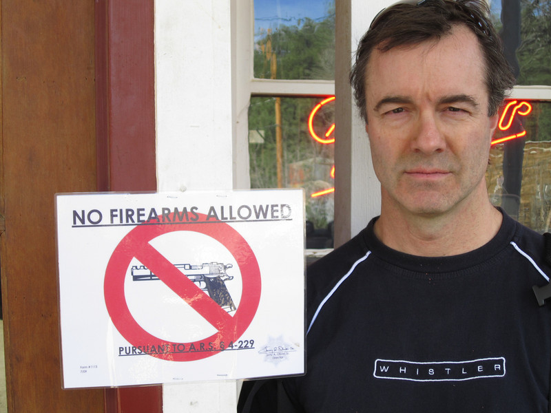 Eric thinks firearms are verrrry serious business.<br /> <br /> He sort of looks like and FBI agent doesn't he?