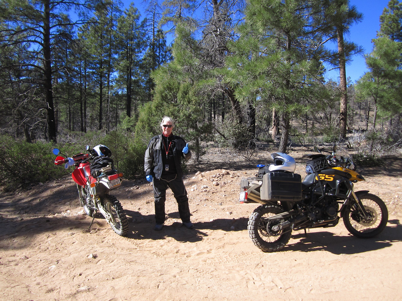 "Bob Curran (aka ""Blue Man"") meets me to show me some of the local trails."