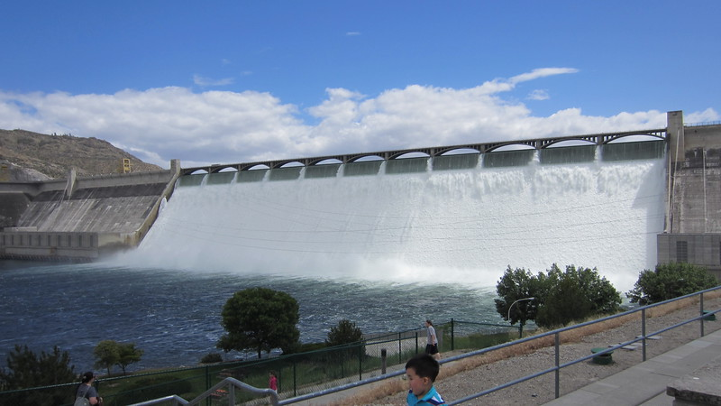 Grand Coulee Dam with all the spillways opened up.