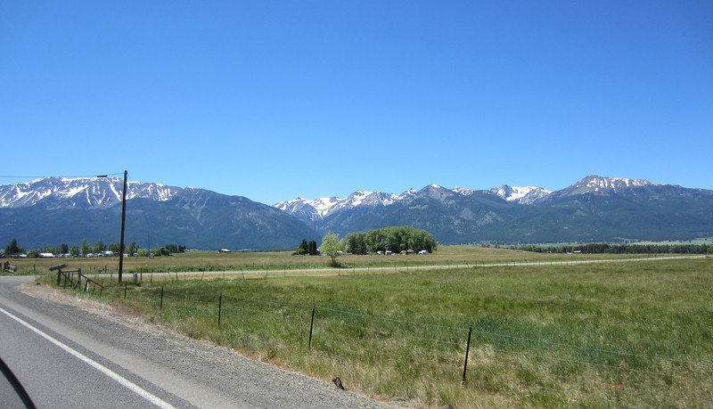 Approaching Joseph, Oregon with the Wallowa Mountains as a backdrop.