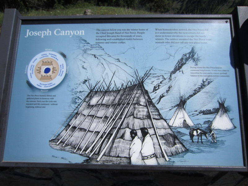 Once up on the plateau, we find a rest stop overlooking Joseph Canyon named after the Chief Joseph Band of the Nez Perce.