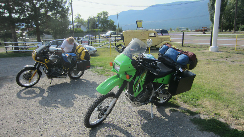 I'm riding a 2006 KLR650 affectionately known as Gumby.  We think we're well set up for the back roads and for camping.