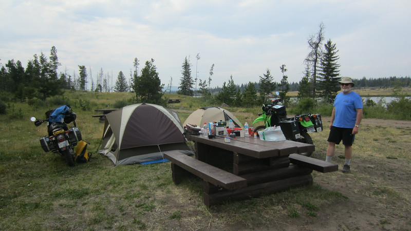 It didn't take long to set up our first night camp.  If the weather had been inclement this would have been pretty wide open, but with the clear skies it was beautiful.