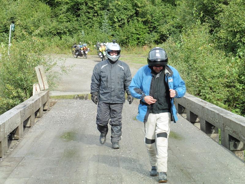 John & Adrian on the Cariboo River Bridge.