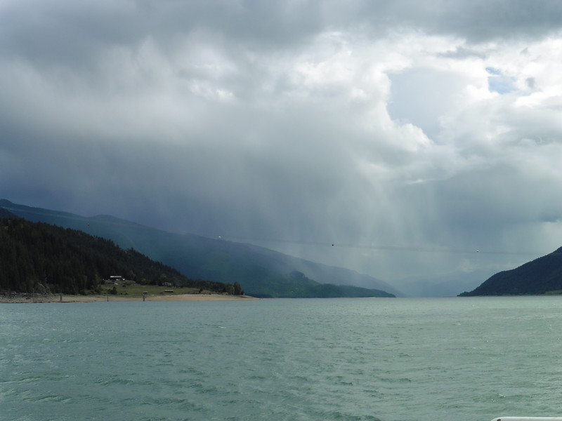 The Kaslo Camp-n-Ride was held in late August this year and riding over on Friday afternoon, the sky looked ominous looking south on Arrow Lake from the Ferry.