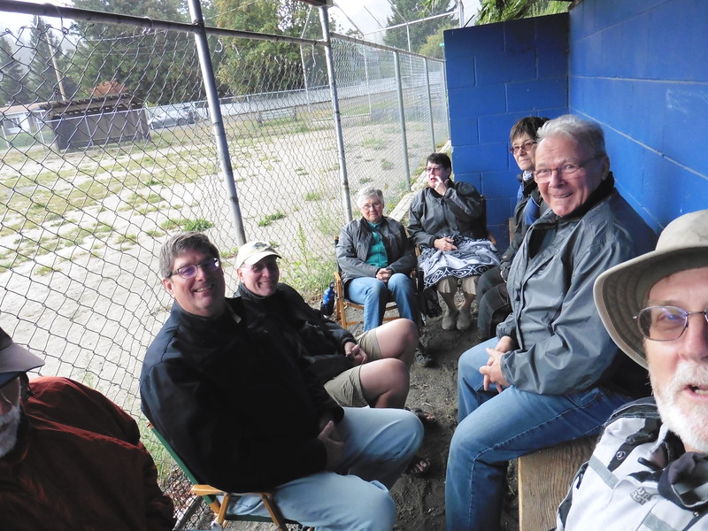 I arrived in Kaslo at the same time as the storm.  The wind was howling, the rain was pouring and the campers were taking refuge in a softball dugout.  L-R, Doug, Ron, Larry, Judy, Debie, Deb, Gary and Wayne.