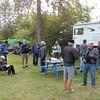 Judy collecting the camping fees.<br /> L-R:  Tom, Judy, Mark, Doug Roy, Paul, Joe, Martin, Ron, Gary, Bill & Yates.