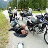 Doug and John were joining me for the rest of the week but for the weekend we also had Diane and Shirley along for the ride.  We mounted up and headed north from Kaslo on highway 31.  We stopped at Meadow Creek while Doug checked  the master link on his chain.
