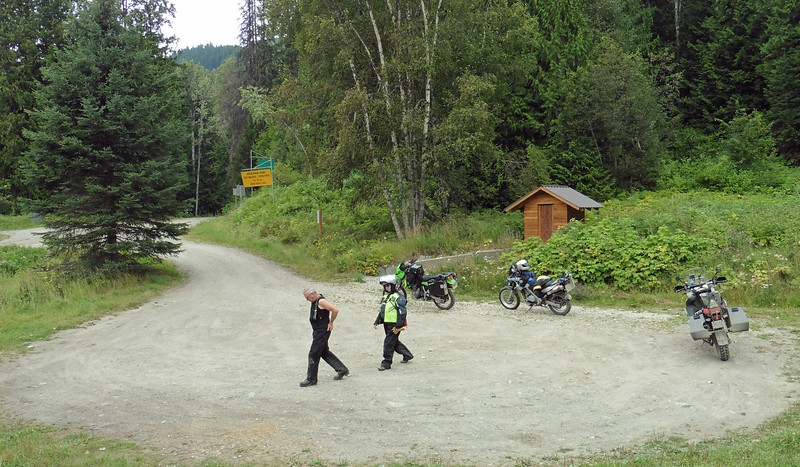 Doug and Shirley at the small rest area at Gerrard.  From here the gravel road climbs upwards to traverse the east side of Trout Lake.