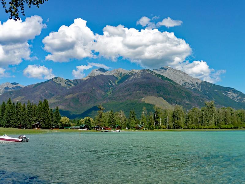 A nice view of Flett Peak across Whiteswan Lake.