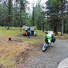 We passed through the town of Kimberley and made our way to Hahas Lake Recreation Site .  It looked to be full up, but as were riding back through the camp a group flagged us down and told us they would be leaving shortly so we could have their site. We thanked them profusely and hurried to get set up before the following storm caught up with us.