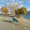 Peachland on a sunny day in November enjoying a coffee on the beach.