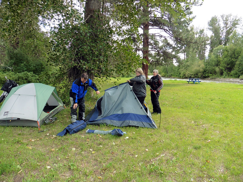 The Moonshadows Camp & Ride was held in Merritt at the Moonshadows RV Park & Campground.  Friday was a rainy day through most of the region and that kept a lot of folks at home.  I rode through a gully washer between Vernon and Westwold but the rain had mostly stopped when I arrived in Merritt.  John, Lori and Diane arrived a bit later and tag team wrestled their tent into submission.