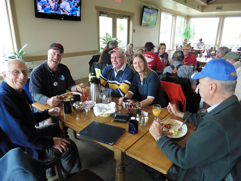 The Kamloops Breakfast Ride was held at a new venue this year.  The Vue Restaurant at the Dunes Golf Course was chosen as a replacement for the Mount Paul Golf Course.  It worked out great.  Good food, good prices and excellent service.  Lots of room for more people next year.  <br /> Herman, John, David, Heather and Dave.