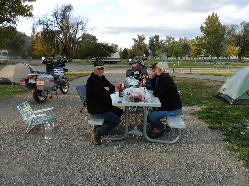 Roy, Alf and Alf relaxing and reliving the days ride.