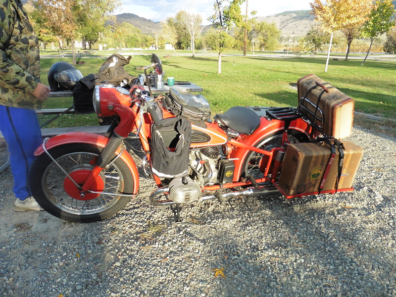 Meanwhile, Jon had returned to his home in Okanagan to swap bikes.  He returned with this lovely 1952 (?) R68.