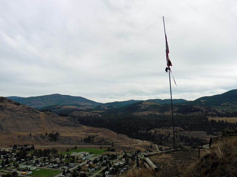 Rather than go for a ride on Saturday, I opted to go for a hike.  I always wondered what was with the flag pole on the mountain across the river from the campground.  I couldn't convince anyone else to join me so I headed off up the hill.