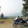 I waited to see if there were any takers for a ride around the Trout Lake loop. I found no one interested in the gravel section so I rode up to Duncan Dam alone.  Very smoky at the north end of Kootenay Lake.