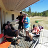 It was a warm day and shade on the deck was prized real estate.  John, Doug, Hans, James and Diane.