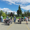 We had planned to have the club barbecue this weekend at the home of James and Tola who are located on Peter Hope Rd south of Kamloops.  With all the issues with fire, smoke and the large number of evacuees in Kamloops we decided to reschedule that to August and move our August breakfast ride forward.  We ended up with beautiful day to ride to the Mabel Lake Golf & Country Club in Kingfisher.
