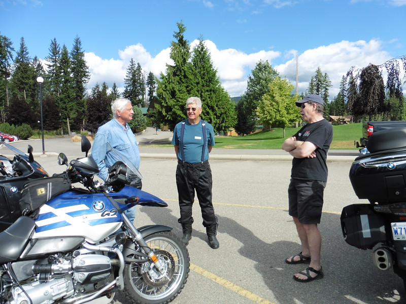 Mark, Terry and Gerry in the parking lot of the Mabel Lake Golf & Country Club.