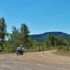 We followed Voght Valley Rd north until the junction at Kane Valley Rd.  Here's Judy arriving at the junction on her F650GS.