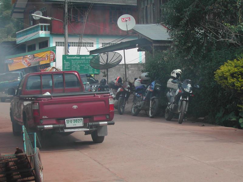 Parking the bikes near Mae Hong San